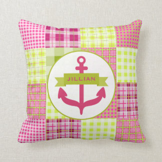 Pink Anchor & Madras Patchwork Inspired Pillow
