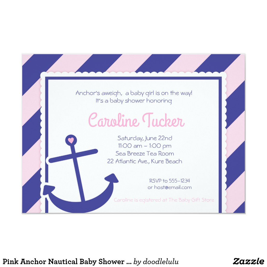 Pink Anchor Nautical Baby Shower Invitation