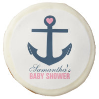 Pink Anchor Nautical Baby Shower Sugar Cookie