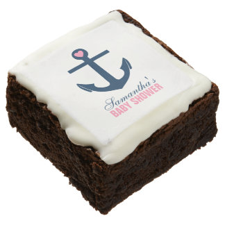 Pink Anchor Nautical Theme Square Brownie