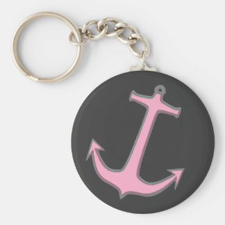 Pink Anchor on Dark Gray Keychain