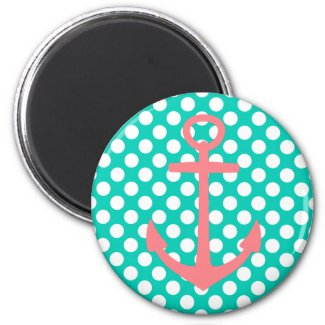 Pink Anchor on Island Sea and White Polka Dots Magnet
