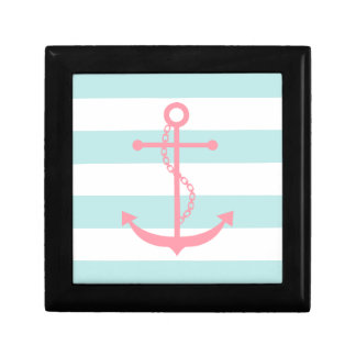 Pink Anchor on Mint Stripes Jewelry Box