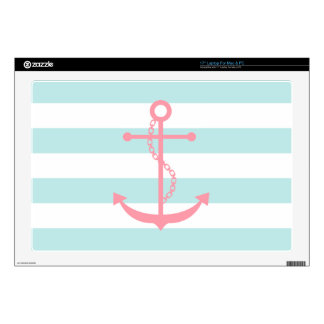 "Pink Anchor on White and Mint Stripes Pattern 17"" Laptop Decals"