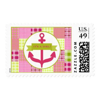 Pink Anchor & Plaid Baby Shower Postage