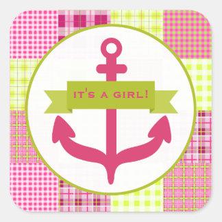 Pink Anchor & Plaid Baby Shower Sticker