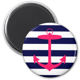 Pink Anchor Silhouette 2 Inch Round Magnet