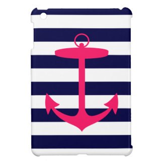 Pink Anchor Silhouette iPad Mini Cover