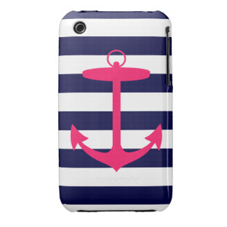 Pink Anchor Silhouette iPhone 3 Case