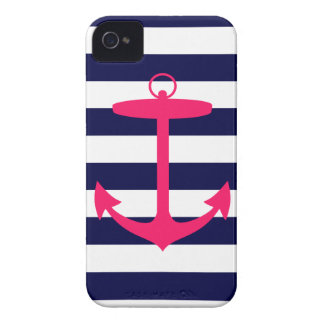Pink Anchor Silhouette iPhone 4 Case-Mate Case