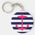 Pink Anchor Silhouette Key Chains