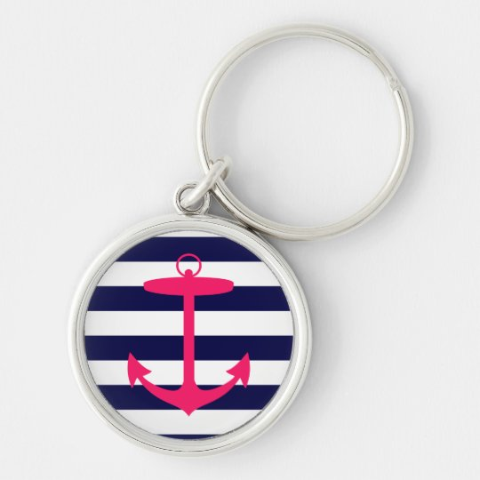 Pink Anchor Silhouette Keychain