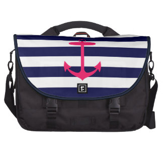 Pink Anchor Silhouette Laptop Messenger Bag