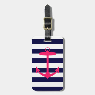 Pink Anchor Silhouette Luggage Tag