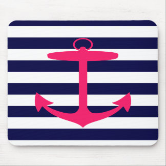 Pink Anchor Silhouette Mouse Pad