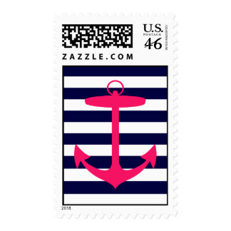 Pink Anchor Silhouette Postage Stamps