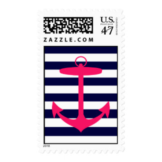 Pink Anchor Silhouette Postage Stamp
