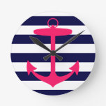 Pink Anchor Silhouette Round Clock