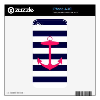Pink Anchor Silhouette Skins For The iPhone 4S