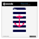Pink Anchor Silhouette Skin For iPhone 4