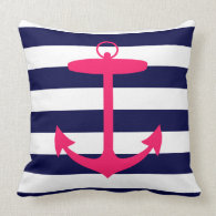 Pink Anchor Silhouette Throw Pillow