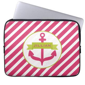 Pink Anchor & Stripes Electronics Bag