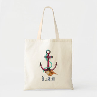 Pink Anchor With Rope Watercolor Personalized Tote Bag
