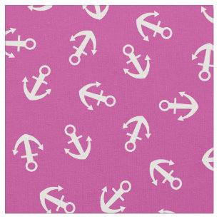 Pink Anchors Fabric