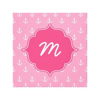 Pink Anchors Monogram Quatrefoil Canvas Print