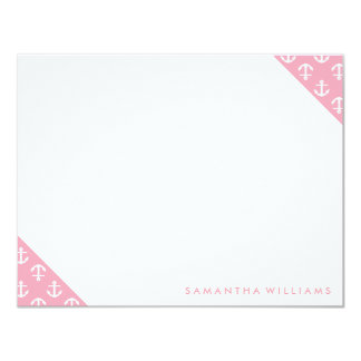 """Pink Anchors Pattern Custom Note Cards 4.25"""" X 5.5"""" Invitation Card"""