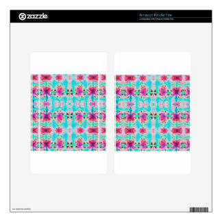 Pink and Aqua abstract flower patterned Decal For Kindle Fire