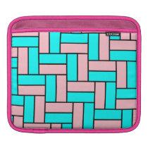 Pink and Aqua Blocks iPad Sleeve