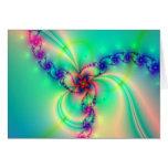 Pink And Aqua Blue Fractal Swirl Greeting Card