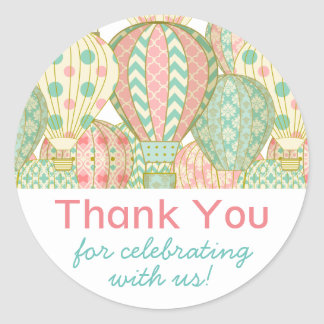 Pink and Aqua Blue Hot Air Balloons Baby Shower Classic Round Sticker