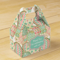 Pink and Aqua Blue Hot Air Balloons Pattern Favor Box