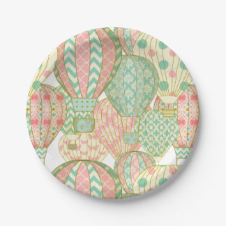 Pink and Aqua Blue Hot Air Balloons Pattern Paper Plate
