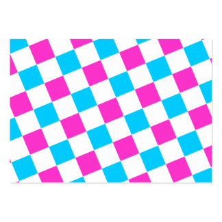 Pink and Aqua Checkerboard Business Card Templates