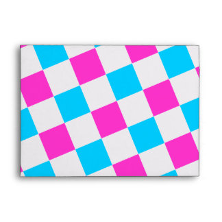 Pink and Aqua Checkerboard Envelope