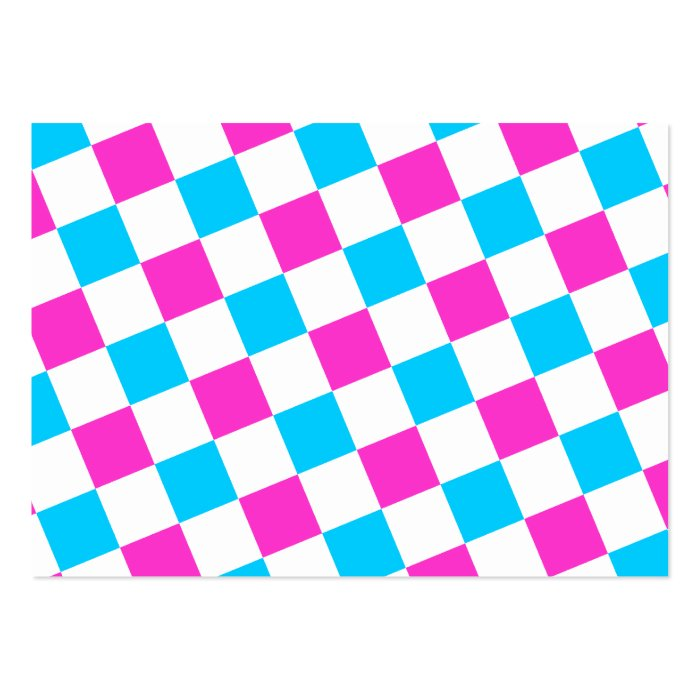 Pink and Aqua Checkerboard Large Business Card