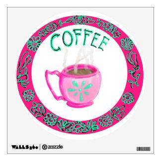 Pink And Aqua Coffee Mug Wall Decal