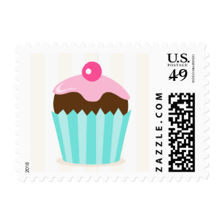 Pink and aqua cupcake postage stamp