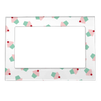 Pink and Aqua Cupcakes with Cherries Magnetic Picture Frame