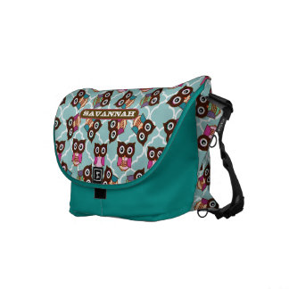 Pink and Aqua Cute Owl Pattern You Choose Colors Courier Bag