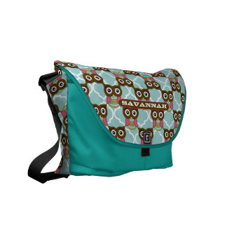 Pink and Aqua Cute Owl Pattern You Choose Colors Messenger Bag