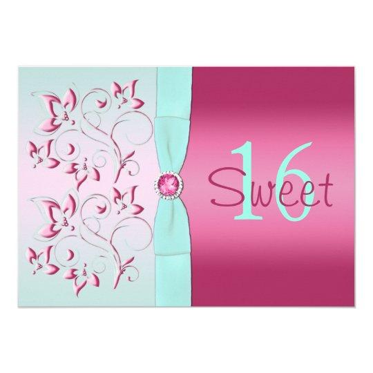 Pink and Aqua Floral Sweet Sixteen Invitation