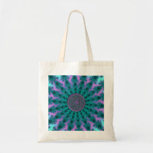Pink and Aqua Fractal Mandala Celtic Knot Tote Bag