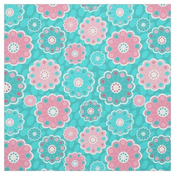 Pink and aqua fresh floral fabric