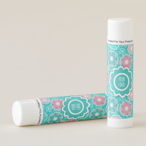 Pink and aqua funky floral lip balm
