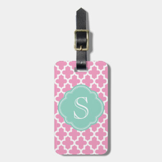 Pink and Aqua Modern Moroccan Custom Monogram Luggage Tag