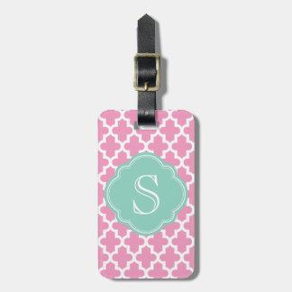 Pink and Aqua Modern Moroccan Custom Monogram Tag For Luggage
